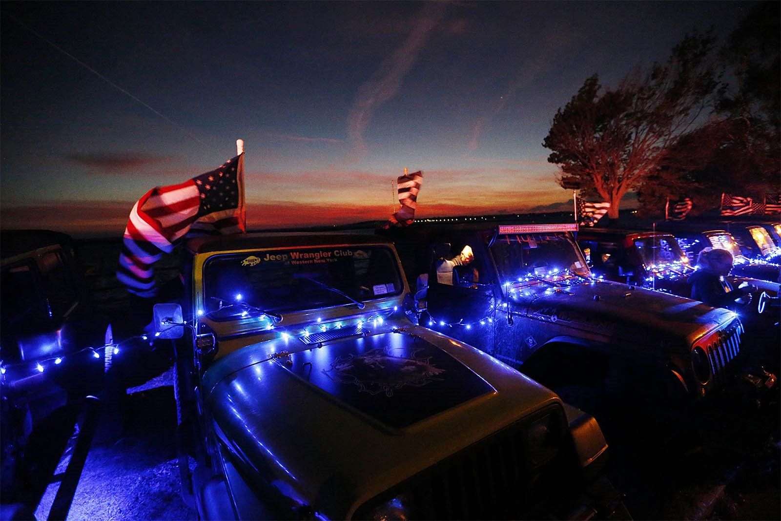The Jeep Wrangler Club of Western New York lined the park with Jeeps lit in blue. The club organized the Blue Light  Vigil at LaSalle Park on Oct. 19 to mourn the loss of Buffalo Police Officer Craig Lehner.